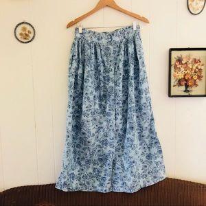 Vintage Meadow Flowers Blue Skirt